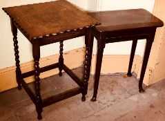 A Georgian revival oak hall table, raised on cabriole supports on padded feet; another similar (2)