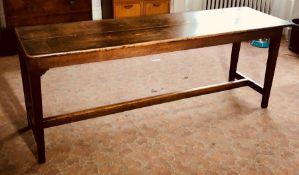 A late 19th century oak two panel farmhouse kitchen table. 75cm H x 200cm L x 60cm W Condition