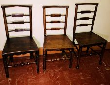 A set ofsix late 18th century elm Lancashire chairs, circa 1790, bow back rails, raised on
