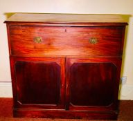 A George III mahogany secretaire, circa 1800, rectangular moulded edge top above a fall front drawer