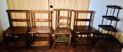 Six various 19th/20th century pine prie dieu chairs; a mahogany corner whatnot (7)