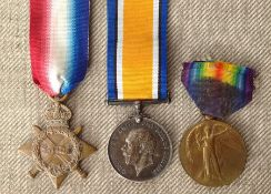 WW1 British 1914-15 Star, War Medal and Victory Medal to 16259 L/Cpl P Wharton, Loyal North Lancs