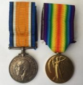 WW1 British War Medal and Victory Medal to 209143 Gnr RJ Patching, RA. Complete with original