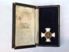 Victorian British DSO in case of issue. Medal has no suspension or ribbon. Chips to enamel to