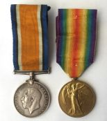 WW1 British War Medal and Victory Medal to R-35232 Pte FW Bellamy, Kings Royal Rifle Corps. Complete