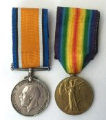 WW1 British War Medal and Victory Medal to 97244 Pte JE Davis, Tank Corps. Complete with original