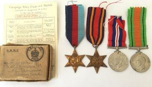 WW2 British Medal group comprising of 1939-45 Star, Burma Star, Defence Medal and War Medal.