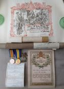 WW1 British War Medal and Victory Medal to 98703 Pte SJ Hoe, Machine Gun Corps. Complete with