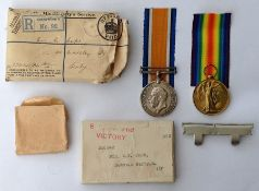 WW1 British War and Victory Medal to 268642 Pte WT Cope, Notts & Derby Regt. Complete in original