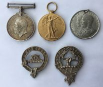 WW1 British War Medal and Victory Medal to 787 Cpl RH Ross, RE. No ribbons. Along with a 1935 GR V