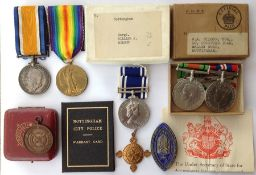 WW1 / WW2 Family group of medals comprising of WW1 British War & Victory Medals to 124487 Pte W