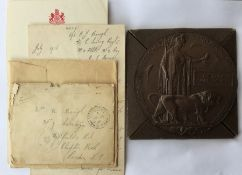 WW1 British Death Plaque to Frederick John Baugh complete with card case of issue, slip and a letter