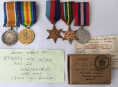 WW1 / WW2 British Family related medal groups: WW1 British War Medal and Victory Medal to 41054