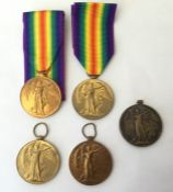 WW1 British Victory Medal collection. Five in total. Awarded to 12781 Pte C Brighton, Lincolnshire
