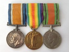 WW1 British War Medal and Victory Medal and WW2 Defence Medal mounted on a bar with original ribbons