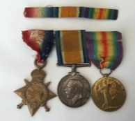 WW1 British 1914-15 Star, War Medal and Victory Medal to Pte M Fenn, Lincolnshire Regt. Mounted on a