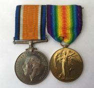 WW1 British War Medal and Victory Medal to 61866 Pte HS Thistleton, RAMC. Mounted on a bar with