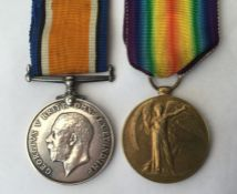 WW1 British War and Victory Medal to 61032 Pte JR Makings, Middlesex Regiment. Complete with