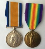 WW1 British War Medal and Victory Medal to 166771 Pte 2 JW Dore, RAF. Complete with replacement