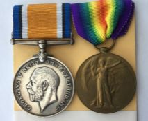 WW1 British War Medal and Victory Medal to 47607 Pte L McCabe, Lincolnshire Regiment. Complete