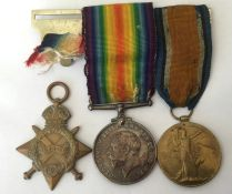 WW1 British 1914-15 Star, War Medal and Victory Medal to 38612 Gnr WJ Patchett, RGA. Mounted on a