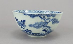 A mid-eighteenth century blue and white hand-painted Vauxhall porcelain tea bowl, c.1758-60. It is