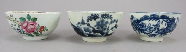 Three late eighteenth century porcelain tea bowls, c.1770-80. To include: a hand-painted Liverpool