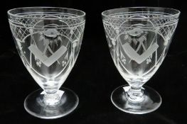 Masonic Interest, a pair of early 20th Century glasses, conical bowls, engraved with alternating