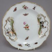 A late nineteenth century porcelain Meissen porcelain plate painted with bird vignettes and insects,
