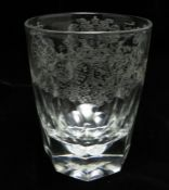 A Victorian clear glass tumbler, possibly by Tom Sutherland, diamond point engraved with Royal
