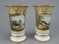 A pair of early nineteenth century Spode vases, c. 1820. Each is well-painted with a titled