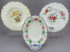 A group of early nineteenth century hand-painted porcelain and moulded dessert wares c.1820. They