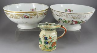 Two nineteenth century bone china circular footed Paris porcelain bowls, c. 1870. Together with a