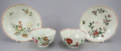 Two late eighteenth century porcelain Liverpool Pennington tea bowls and saucers, c.1780-90. Each is