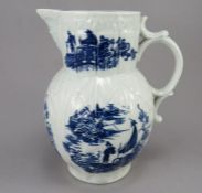 A late eighteenth century blue and white transfer-printed porcelain Caughley mask jug, c. 1795. It
