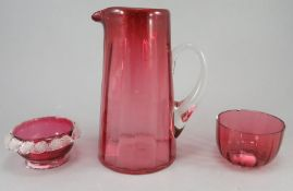 Three pieces of late nineteenth century Victorian Cranberry glass, c. 1870. To include: a small