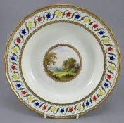 A late eighteenth century hand-painted and gilded porcelain Derby plate from the Blenheim service,