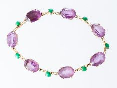 A 9ct amethyst and turquoise bracelet, claw set se