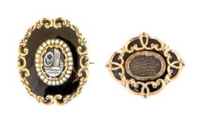 Two 19th Century mourning brooches, each yellow me