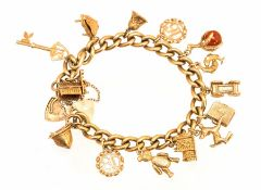 A 9ct yellow gold charm bracelet, approx .79g tota