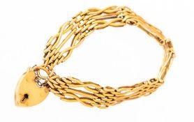 An 18ct yellow gold padlock gate bracelet, approxi