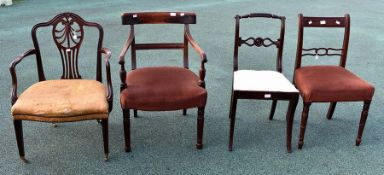 ***LOCATED AT GRESLEY****A collection of four various 19th Century chairs, comprising a George III