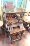 ***LOCATED AT GRESLEY****A 17th Century style stool in oak along with an oak set of three tables (