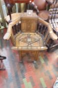 ***LOCATED AT GRESLEY****Indian early 20th Century inlaid hall chair, 80cm high