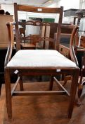 ***LOCATED AT GRESLEY**** Georgian elm open armchair, nest of oak tables and mahogany shaving