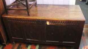 ***LOCATED AT GRESLEY**** 17th Century oak coffer, deep interior four carved panels to front,