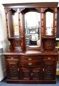 ***LOCATED AT GRESLEY**** Edwardian style large mirror backed sideboard, serpentine front, four