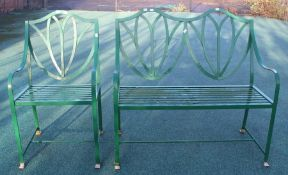 LOCATED AT GRESLEY A two seater metal garden bench and a matching single chair, mid to late 20th