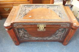 ***LOCATED AT GRESLEY**** A Chinese hardwood camphor chest with single internal shelf, early 20th