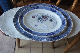 LOCATED AT GRESLEY A collection of dinner/kitchen wares including meat plates, modern Denby and